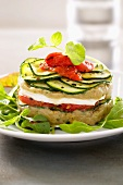 Sfoglia di verdure (a stack of vegetables with mozzarella and rocket)
