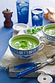 Pea soup with sour cream and mint