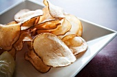 Fresh Cut Potato Chips on a White Dish