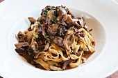Tagliatelle with Wild Mushrooms, Fresh Herbs, Braised Short Ribs and Brown Sauce in a White Bowl