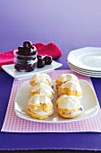 Profiteroles with ricotta and cherry filling
