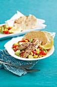 Grilled fish with sweetcorn salad and tortillas