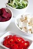 Prepared vegetables, sliced red chilli, diced beetroot, sliced leeks and diced celeriac