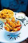 Vegetable pakora with raita (India)