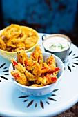 Vegetable pakora with raita (India)