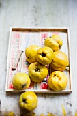 Several quinces on a wooden tray