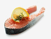 Raw salmon steak with dill and lemon
