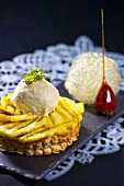 Pineapple tart with pineapple and coconut parfait