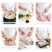 Macadamia and cranberry stuffing being prepared and stuffed into a turkey, the turkey then being rolled and prepared for roasting