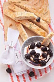 Focaccia with balsamic blackberries