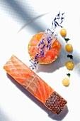 Salmon with borage flowers