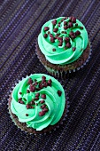Chocolate and mint cupcakes with peppermint buttercream icing