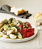 Grilled vegetables with caper sauce and white bread