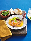 Orange and onion salad with olives