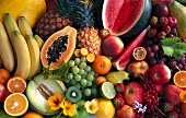 Assorted exotic fruits, grapes and berries