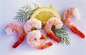 Peeled prawns with a slice of lemon and dill
