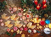 Assorted Christmas biscuits made from shortcrust pastry (angels, stars)