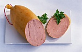 Liver sausage, sliced open