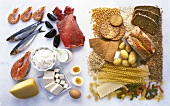 Protein-rich and carbohydrate-rich food groups