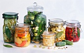 Several jars of pickled vegetables