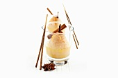 Pear dessert with cinnamon sticks and star anise