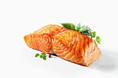 Roasted salmon fillet with fresh herbs