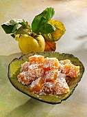 Quince and ginger sweets with grated coconut