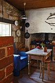 A rustic dining room in a simple house