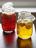 Red and White Sangria in Mason Jars