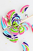 A Broken Swirled Lollipop; On a White Background