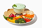 Veggie and Cracker Platter with Benedictine Dip (a Southern Spread made with Cucumber, Onion and Cream Cheese); White Background