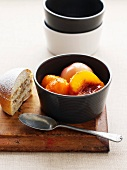 Poached fruit with cake