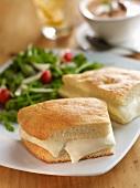 Focaccia and Crescenza Cheese Sandwich