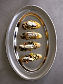 Crostini topped with herring fillets