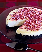 Chocolate Crusted Peppermint Cheesecake with a Slice Removed