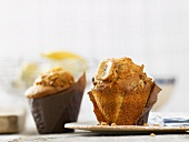 Banana muffins wrapped in baking paper
