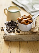 Milk, coffee beans and toffee chunks