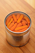 A tin of baby carrots