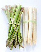 Bunches of green and white asparagus