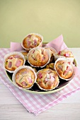 Rhubarb Muffins, selective focus