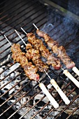 Beef skewers on the barbecue