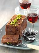 Chocolate and cherry semifreddo with pistachios