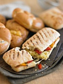 Panini with roasted peppers and cheese