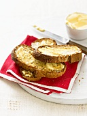 Toasted slices of bread with butter