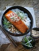 Teriyaki salmon with rice and sesame seeds (Japan)
