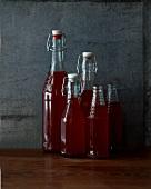 Several bottles of syrup