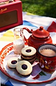 A picnic of jammie dodgers (jam biscuits, England) and tea