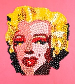 The face of Marilyn Monroe made from jelly beans