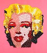 Marilyn Monroe Gesicht aus Jelly Beans