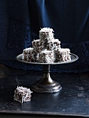 Lamingtons on a cake stand